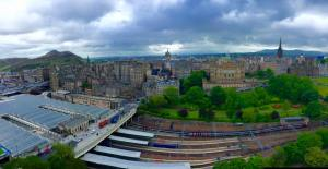 The view from the top of the Scott Monument.